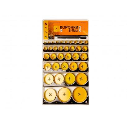Набор коронок по металлу 36 ед. ЭНКОР Bi-met (Стенд с коронками ф 14-177 мм)