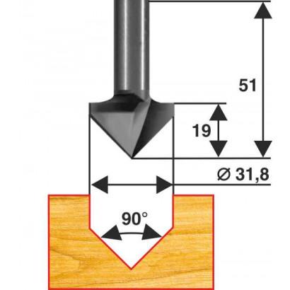 Фреза по дереву пазовая галтельная V-обр. Ø31.8х35 90° твердосплав ц/хв 8 ЭНКОР Эксперт бокс