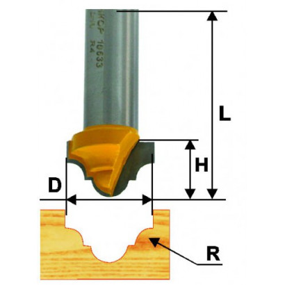 Фреза по дереву пазовая фасонная Ø25.4х16 R5.6 твердосплав ц/хв 12 ЭНКОР ПРОФ бокс.10634