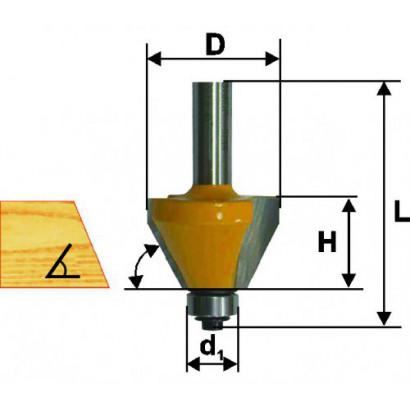Фреза по дереву кромочная конусная Ø38.1х18.5 45° твердосплав ц/хв 8 ЭНКОР ПРОФ бокс.9236