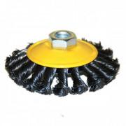 Щетка для УШМ дисковая выгнутая М14/100 мм ЭНКОР сталь/витая