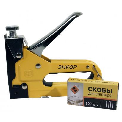 Степлер ручной тип 140 скобы 4-14 мм, 28 скобы 10-14 мм, 300 раз.10-14 метал/корп ЭНКОР блистер