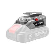 Переходник с USB и фонариком (PowerBank) аккум 18V GRAPHITE Energy+ (без акк. и з.у) коробка