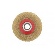 Щетка для УШМ дисковая ф22,2/100 мм MATRIX латунь/витая