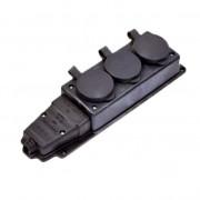 Колодка штепсельная IP44 16A 3 гн. с загл. каучук NE-AD